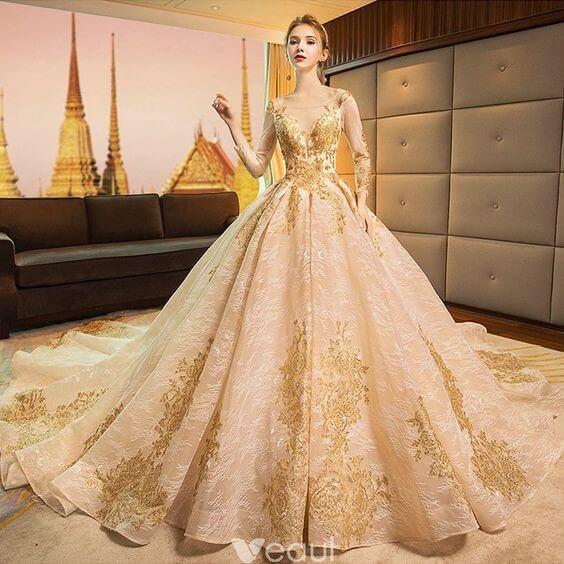 Gold Wedding Dresses for Luxury and Abundance
