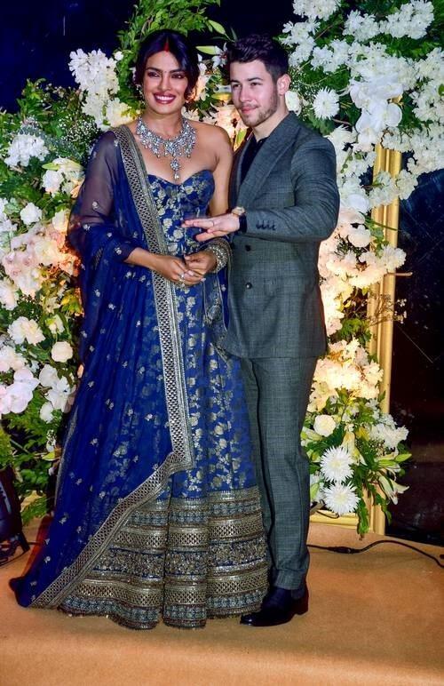 Gorgeous Priyanka Chopra in her Amazing Blue Wedding Dress, a Symbol of Peace and Purity