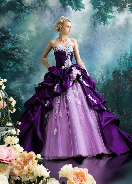 Royalty and Mystery - The Message of this Ethereal Purple Wedding Dress