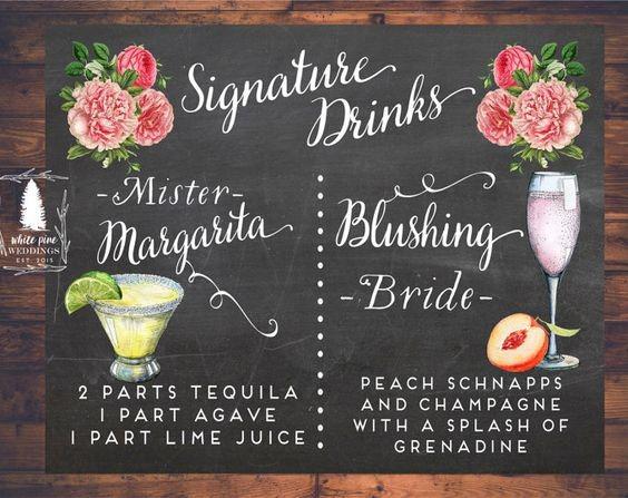 Wedding Reception Menu - Signature Drinks Mister Margarita & Blushing Bride