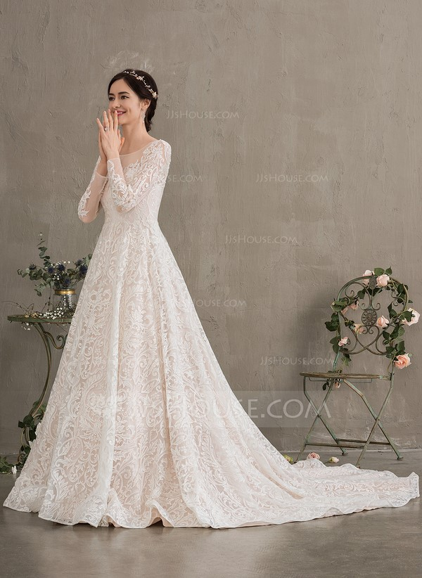 Ball-Gown/Princess Illusion Court Train Lace Wedding Dress