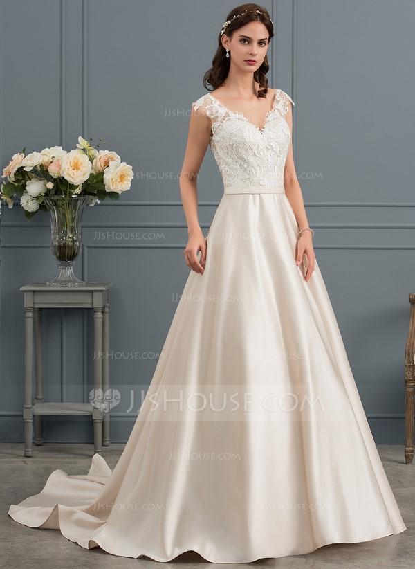 Ball-Gown V-neck Court Train Satin Wedding Dress