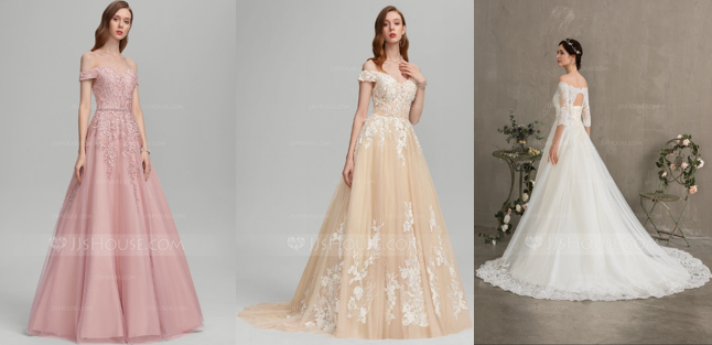 Fascinating Ball Gown Wedding Dresses in Different Lengths - Floor-Length, Sweep Train & Court Train