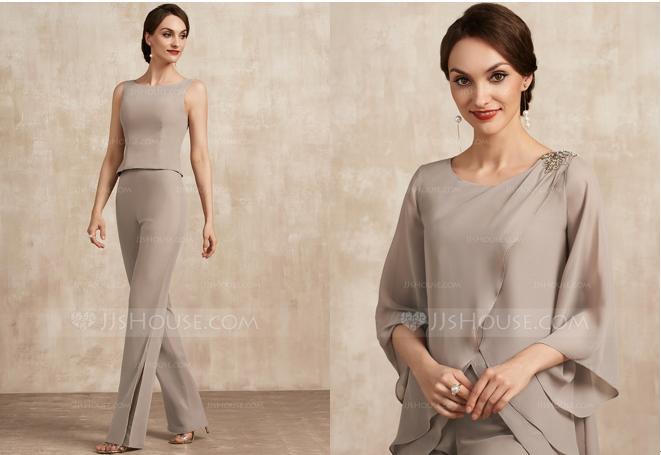 Scoop Neck Floor-Length Chiffon Mother of the Bride Dress