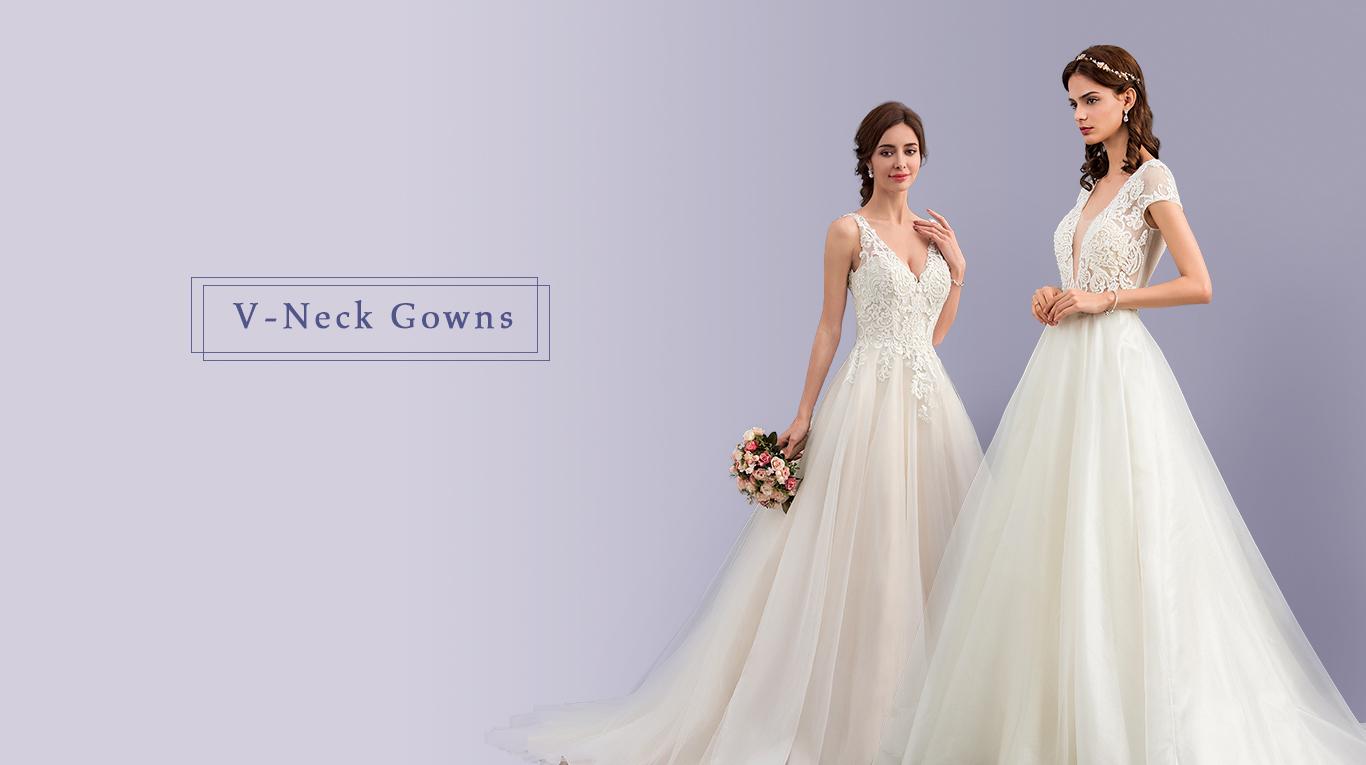 V-Neck Ball Gowns