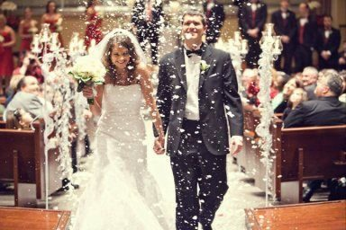 Awesome Fake Snow Wedding Exit