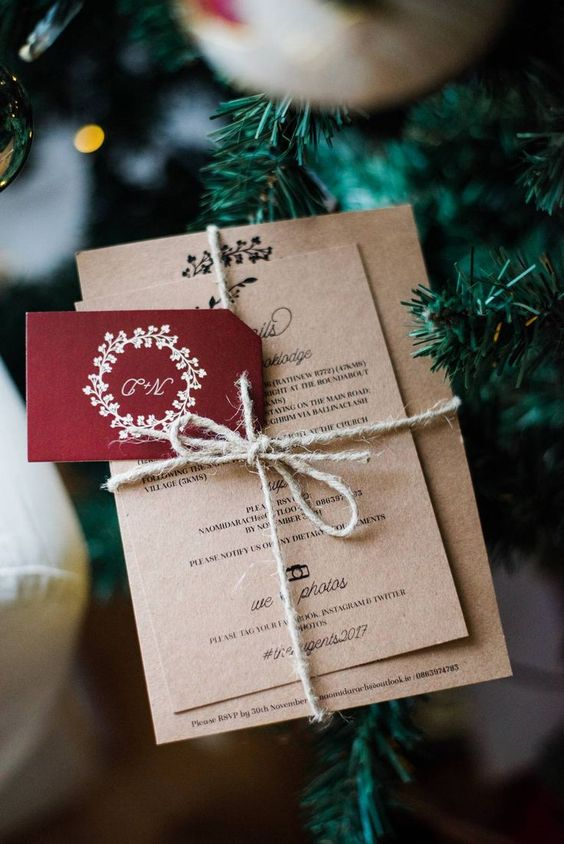 Lovely Christmas Wedding Invitaions in Old Paper Style