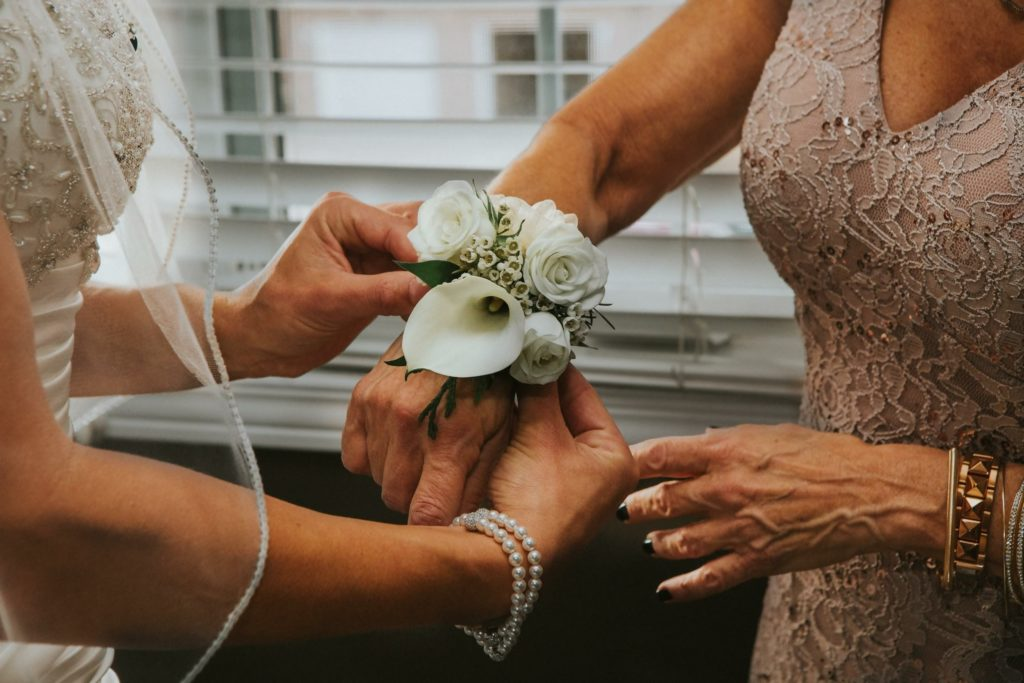 Calla Lily and Rose Wedding Wrist Corsage