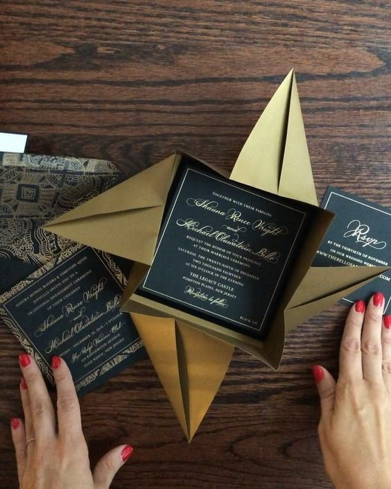Luxurious Black and Gold Invitation Cards