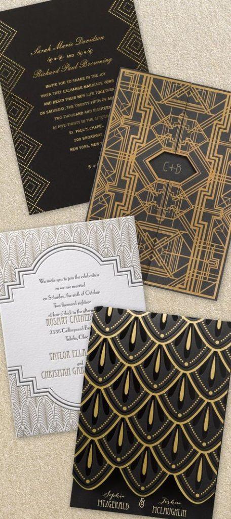 Elegant Art Deco Wedding Invitations