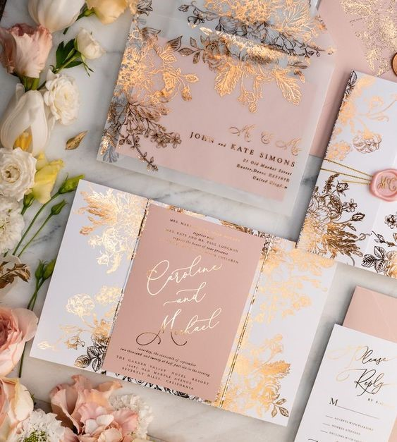 Elegant Combination of Girly Blush and Rich Gold Invitation