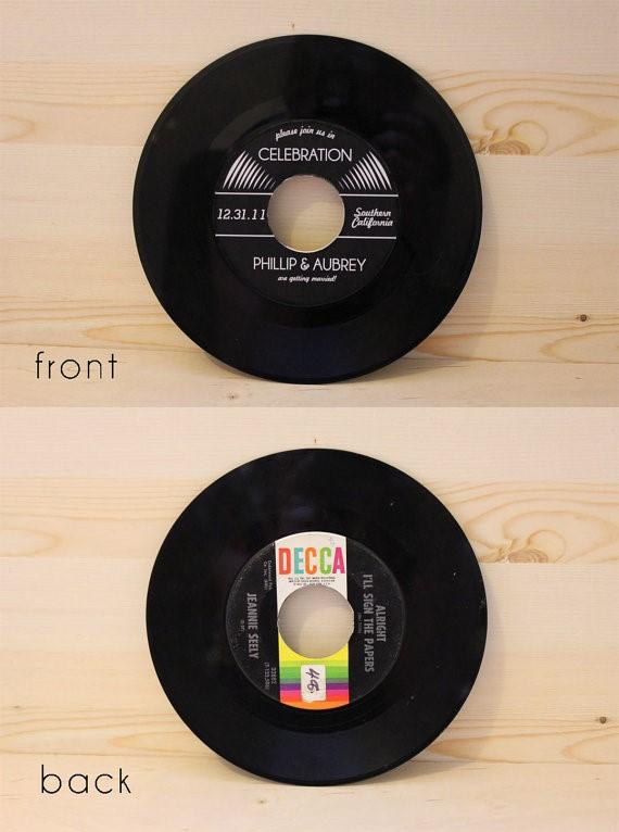 Exceptional Vinyl Record Wedding Invita