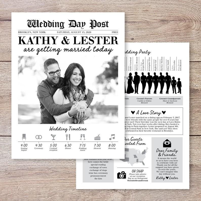 Newspaper Themed Wedding Invitations