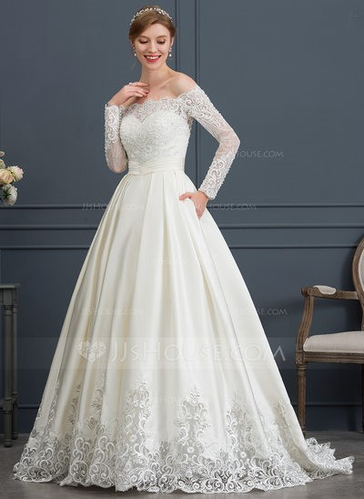 Ball-Gown Off-the-Shoulder Sweep Train Satin Wedding Dress With Beading Sequins