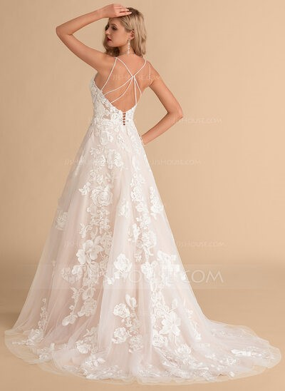 Ball-Gown V-neck Court Train Tulle Lace Wedding Dress With Beading Pockets