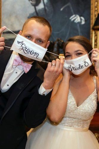 Groom and Bride Wearing Masks