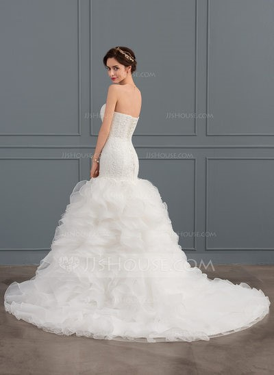 Mermaid Sweetheart Court Train Tulle Wedding Dress With Ruffle