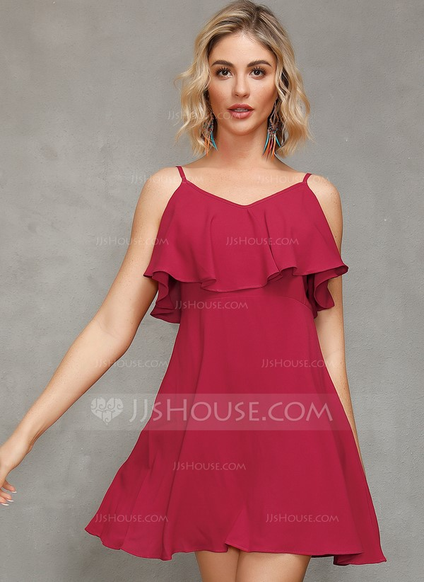 Polyester With Crumple/Ruffles/Solid Above Knee Dress