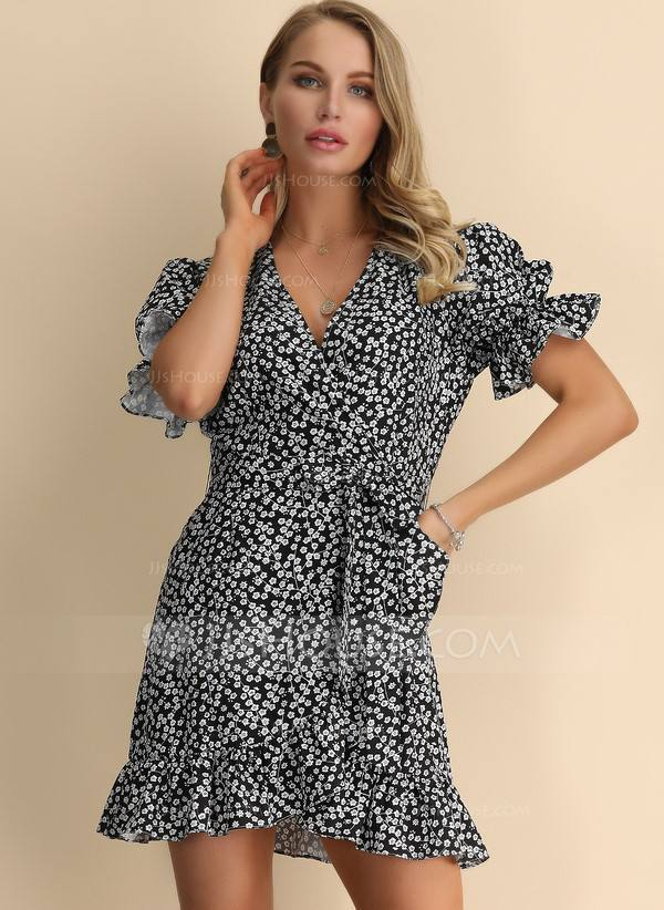 Polyester With Print/Ruffles Above Knee Dress