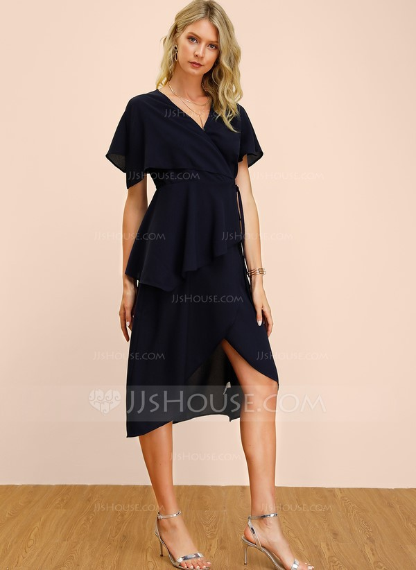 Polyester With Solid/Slit Midi Dress in Wrap Style