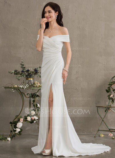 Sheath Off-the-Shoulder Sweep Train Stretch Crepe Wedding Dress With Ruffle Split Front