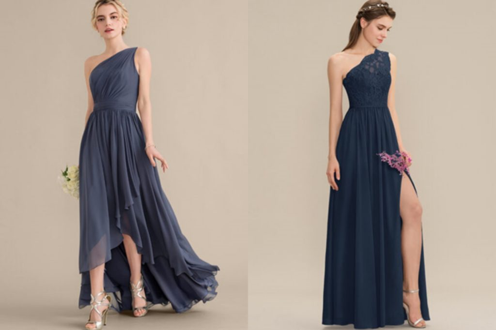 A-Line One-Shoulder Asymmetrical Chiffon Bridesmaid Dress With Cascading Ruffles or Split Front