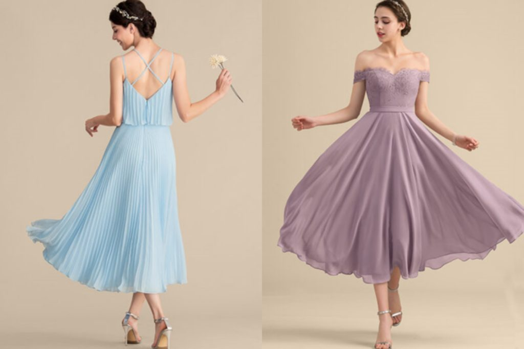A-Line Princess V-neck Off-the-Shoulder  Tea-Length Chiffon Bridesmaid Dress With Pleated
