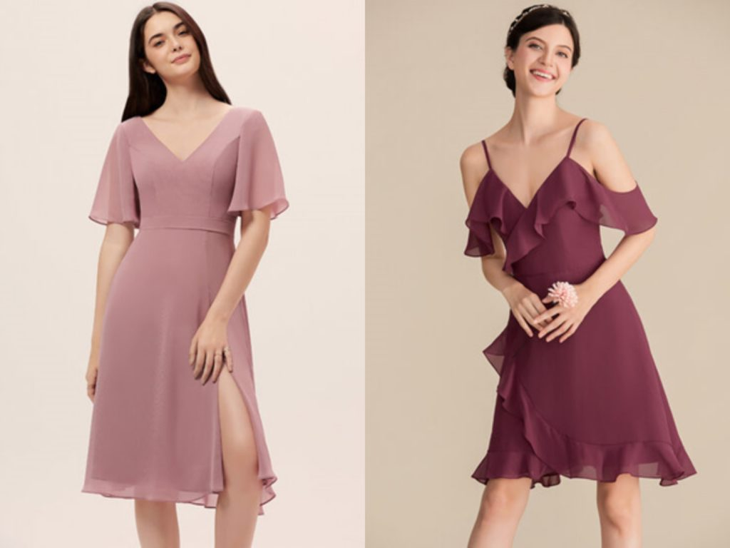 A-Line V-neck Knee-Length Chiffon Bridesmaid Dress With Split Front or Cascading Ruffles