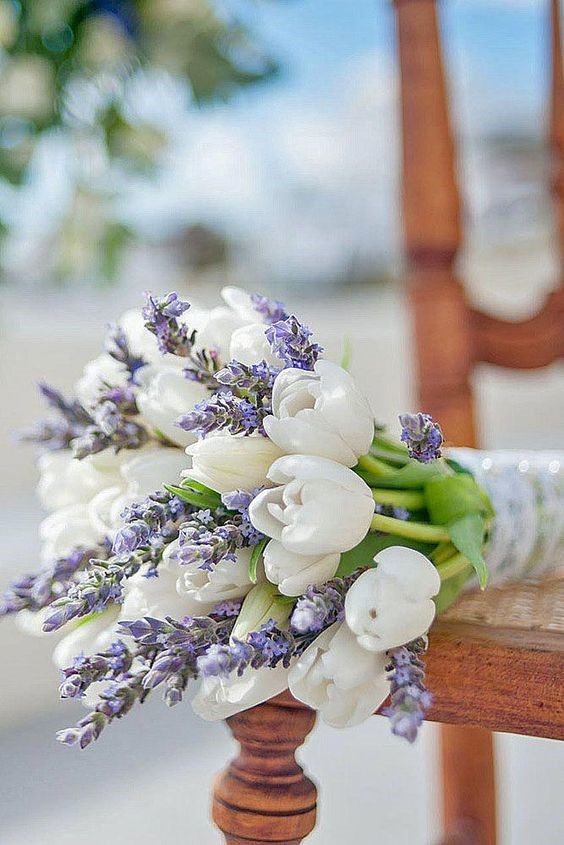 Beautiful Tulips and Lavender Wedding Flowers