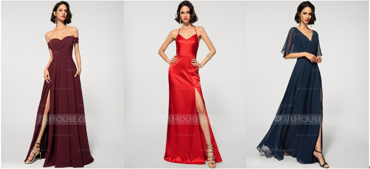 Classy Elegant Dresses: Off-the-Shoulder Evening Dress, Halter Neckline Evening Gown, and V-Neck Evening Dress