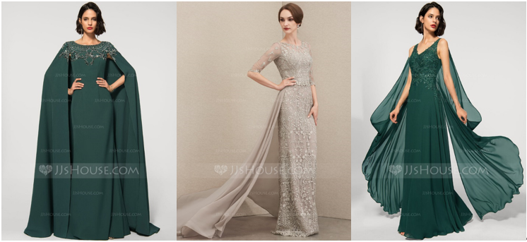 Evening Gown with a Cape, Long Lace Evening Dress with a Detachable Train, and Emerald Formal Dress