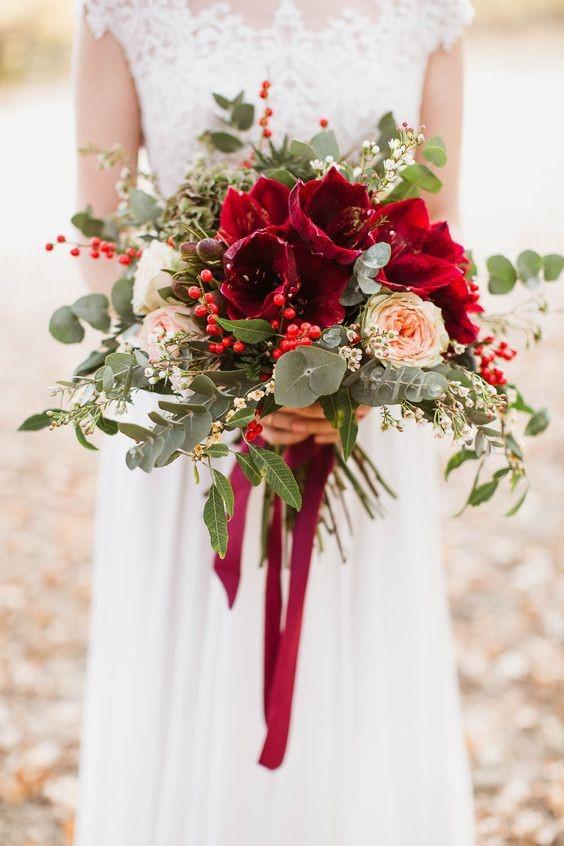 Eye-catching Red Amaryllis Bouquet