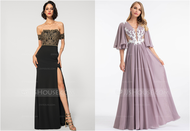 Lace Applique Embellishments: Black and Gold Evening Dress and A-line Evening Dress in Dusk