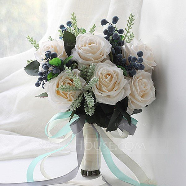 Lovely Round Satin Bridal Bouquets/Bridesmaid Bouquets
