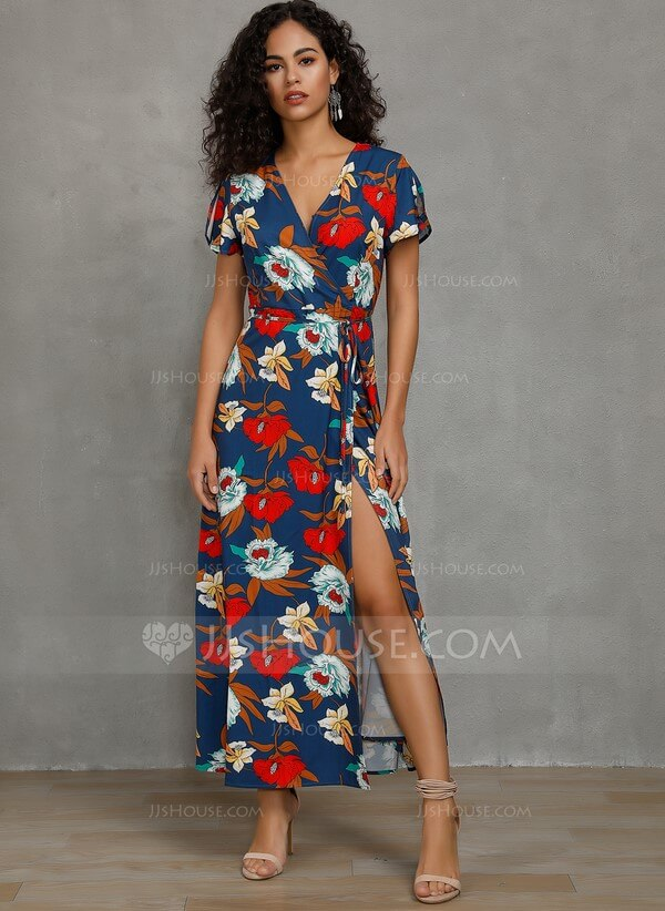 Polyester With Print/Slit Maxi Dress