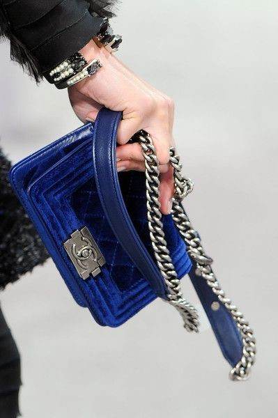 Pretty Velvet Chanel handbag in classic blue