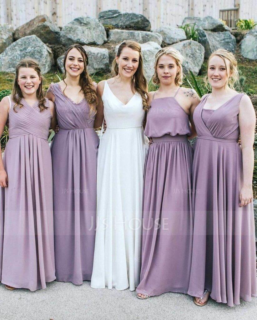 Romatic Purple and Lilac Bridesmaid Dresses