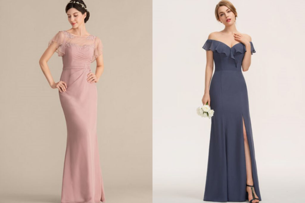 Scoop Neck Floor-Length Chiffon Bridesmaid Dress With Beading Appliques Lace Sequins or Split Front Cascading Ruffles