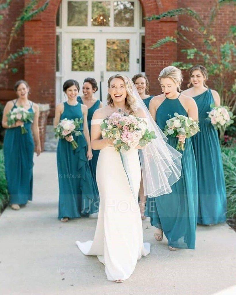Stylish Peacock Green Bridesmaid Dresses