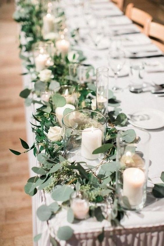 White Roses and Candles on the Reception Table