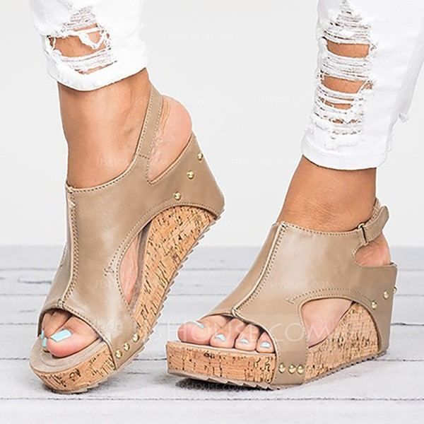 Women's Leatherette Wedge Heel Sandals Pumps Peep Toe Slingbacks With Rivet shoes