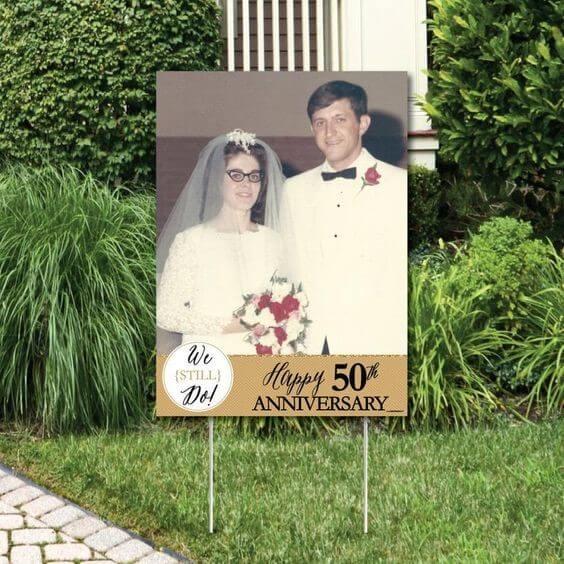 50th Anniversary Photo Yard Sign Wedding Anniversary Party
