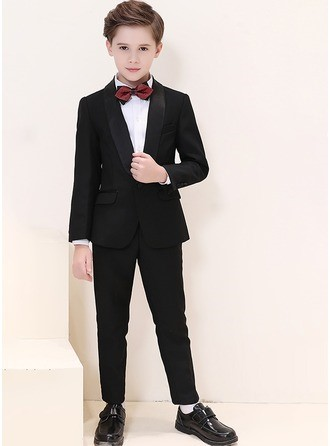 Boys 4 Pieces Classic Ring Bearer Suits/Page Boy Suits With Jacket Shirt Pants Bow Tie