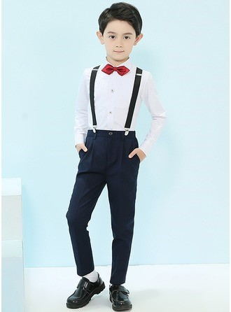 Boys 4 Pieces Classic Ring Bearer Suits/Page Boy Suits With Shirt Pants Bow Tie Suspender