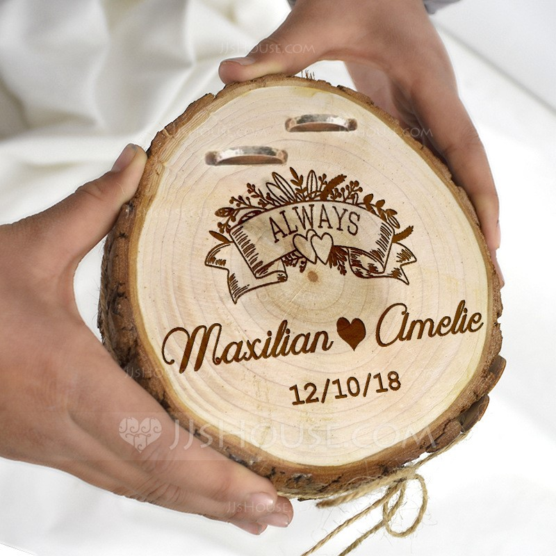 Classic/Personalized Wood Ring Holder With Rustic Twine