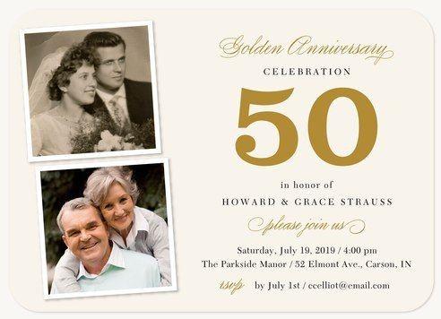 Golden 50th wedding anniversary invitations