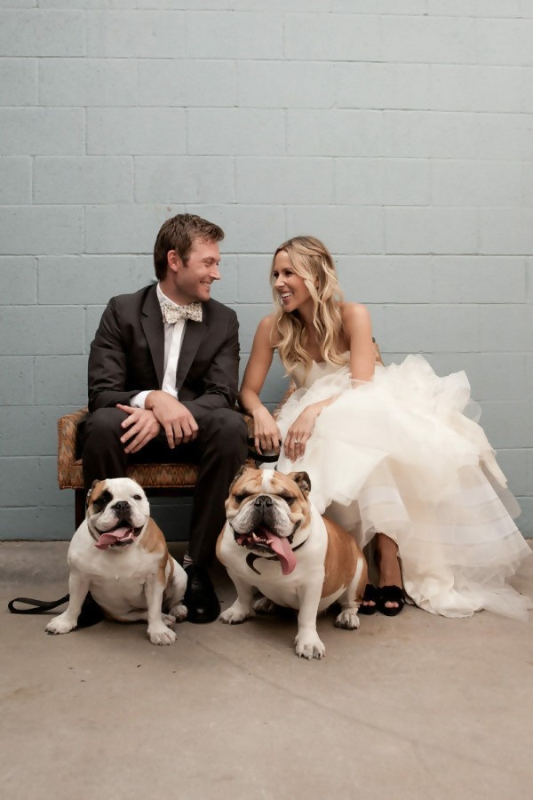 Groom, Bride, and Dog Best Friends at the Wedding