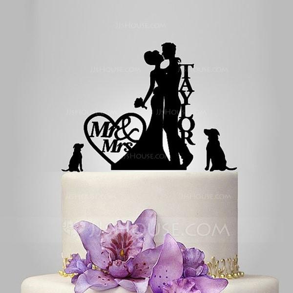 Personalized Classic Couple Acrylic Wedding Cake Topper