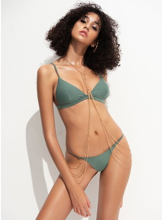 Sexy Low Waist String Thong Polyester Spandex Bikinis