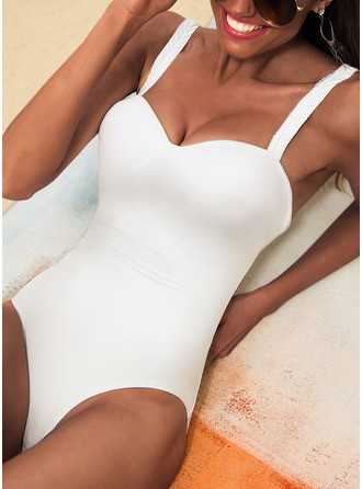 Sexy Solid Color Polyester Nylon One-piece